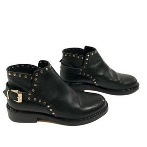 Topshop Gold Studded Black Leather Ankle Boots